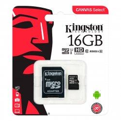 Micro SDHC Kort m/adapter 16GB (UHS-I Class 10) Kingston