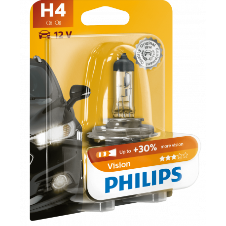 PHI H4 VISION Kfz-Lampe, H4, 1er-Pack, P43t, Vision