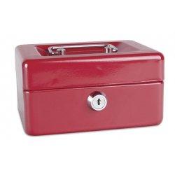Pengekasse, 152x80x115mm, mønter og sedler, metal, rød