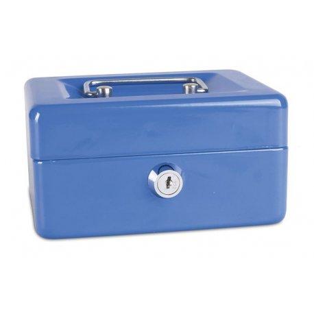 Pengekasse, 152x80x115mm, mønter og sedler, metal, blå