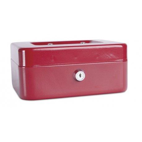 Pengekasse, 200x90x160mm, mønter og sedler, metal, rød