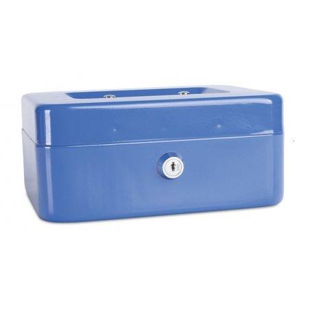 Pengekasse, 200x90x160mm, mønter og sedler, metal, blå