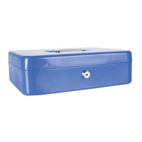 Pengekasse, 300x90x240mm, mønter og sedler, metal, blå