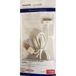 Sinox One Apple 30-pin kabel, 2,0 meter Hvid