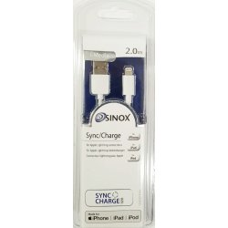 Sinox iMedia Lightning kabel med original Apple chip. 2,0 meter. Hvid