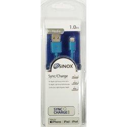 Sinox iMedia Lightning Kabel Med Original Apple Chip 1,0 meter Blå