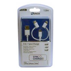 Sinox i-Media 3-i-1 Kabel Med Lightning, Usb-c og Micro Usb. 1,0 meter. Hvid