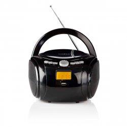 Boombox 9W m/Bluetooth (CD+FM+USB) Sort - Nedis
