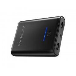 RAVPower Element 10000 mAh powerbank, 2 x USB-A output, Sort